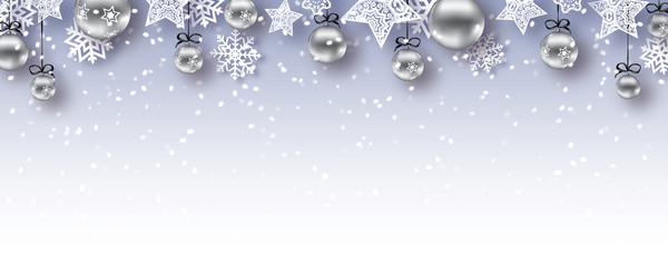 christmas baubles banner  - vector xmas / happy new year background (gray)
