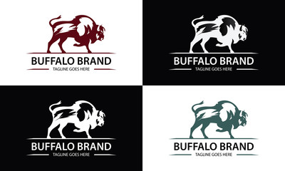 Buffalo brand logo design template ,Vector illustration