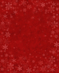 Subtle Snow on Red. Subtly rendered snowflakes on a textured red background.