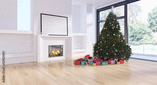 """Albero di natale in soggiorno moderno"" Stock photo and royalty-free images on Fotolia.com - Pic ..."