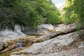 Mountain river in forest and mountain terrain. Crimea.