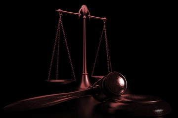 3d illustration scales and judges gavel in dark background