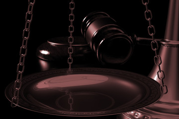 3d illustration scales and judges gavel close in dark background