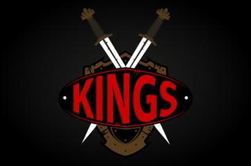 universal emblem, shield and sword, kings. Logo, icon.