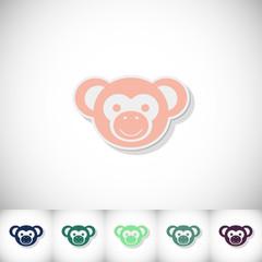 Monkey. Flat sticker with shadow on white background