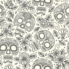 Skull and Flowers. Seamless Background. Mexican day of the dead. Freehand drawing