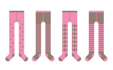 Set of tights with different designs for girl