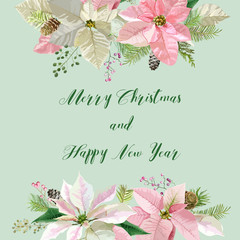 New Year and Christmas Card - Vintage Flowers Poinsettia Pink Background