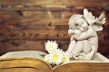 Angel and white flowers on old book
