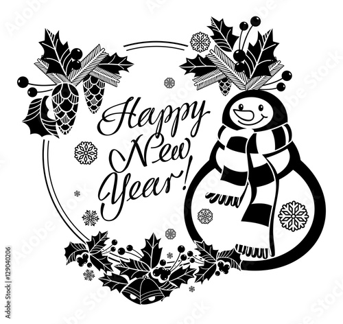 holiday label with funny snowman and written greeting happy new year vector clip art stock image and royalty free vector files on fotoliacom pic