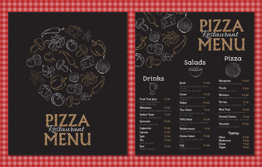 Pizza restaurant menu template design with hand-drawn ingredient