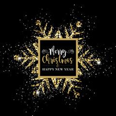 Eleganti Auguri di Buon Natale con fiocco di neve dorato splendente
