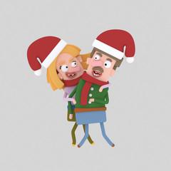 Christmas Couple.  Custom 3d illustration contact me!