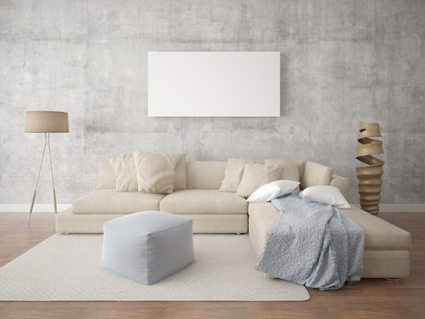 Mock up poster stylish living room with a floor lamp epotazhnym.