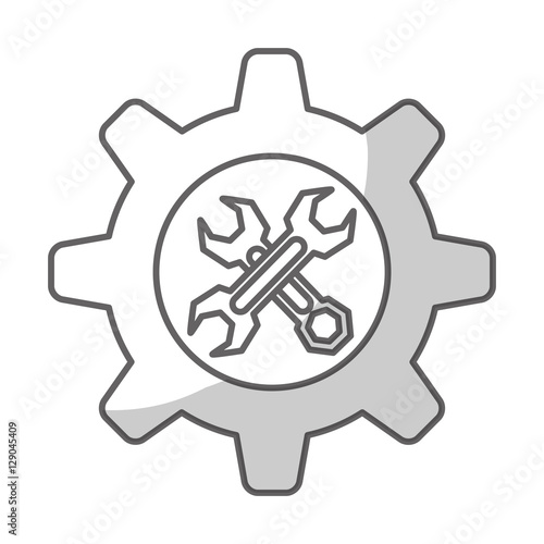 Gear Wheel With Tool Box Icon Inside Over White Background Repair