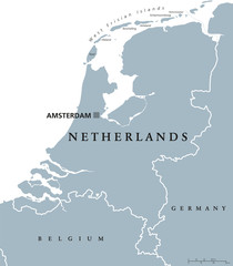 Netherlands political map with capital Amsterdam. Holland with national borders and neighbor countries. Gray illustration with English labeling and scaling on white background. Vector.