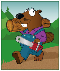 Beaver With Chain Saw / A beaver carries a chain saw.