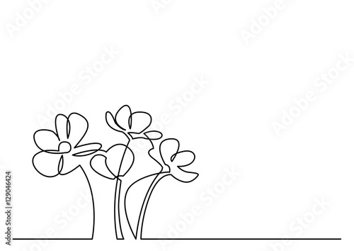 Continuous Line Drawing Flowers : Quot continuous line drawing of beautiful flowers stock image