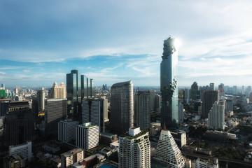 Aerial view of Bangkok modern office buildings, condominium in B