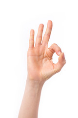 woman hand pointing up okay, yes, accepting hand sign, studio isolated