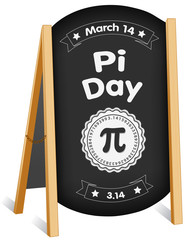 Pi Day, March 14, international holiday to celebrate the mathematical constant Pi, 3.14,  and eat lots of pie, sidewalk chalk board sign, folding easel, brass chain.