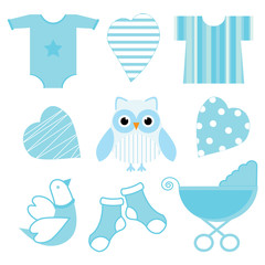 Baby shower illustration with cute blue baby owl, baby tools, and love suitable for baby boy sticker set and clip art