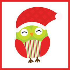Christmas illustration with cute baby owl wears Santa hat on red frame suitable for Xmas kid greeting card, postcard and wallpaper