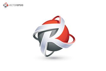 Abstract Letter R Logo - 3D Sphere Logo