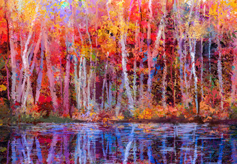 Obraz Oil painting colorful autumn trees. Semi abstract image of forest, aspen trees with yellow - red leaf and lake. Autumn, Fall season nature background. Hand Painted Impressionist, outdoor landscape - fototapety do salonu