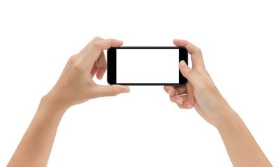 hand holding phone isolated on white background, mock-up smart p