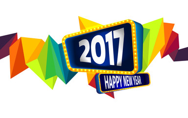 Colorful of Happy new year and abstract geometric background.