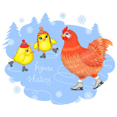 The hen and chickens skate across the ice. Vector Illustration.