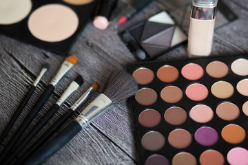 make up set and brushes