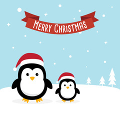 Penguin cartoon character. Cute Penguins wearing Santa Claus hat standing on sky blue background. Flat design Vector illustration for Merry Christmas and Happy New Year invitation card.