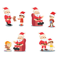 boy and girl with santa cartoon set