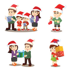 family cristmas again cartoon set