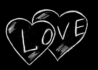 Два сердца и любовь на чёрном фоне