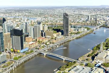 Brisbane CBD cityscape and South Bank with Victoria bridge over the