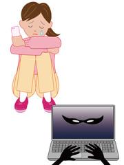 ネットで嫌がらせを受けて泣く女性