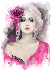 beautiful woman with blonde curly hair, watercolor painting, splash paint. Digital illustration. pink rose. passionate, impassioned,  fantasy .portrait