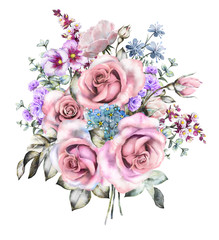 watercolor flowers. floral illustration in Pastel colors, pink rose. branch of flowers isolated on white background. Leaf and buds. Cute composition for wedding or greeting card. Big varied bouqet