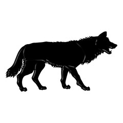 Black and white silhouette illustration of a wolf