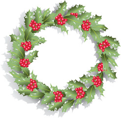 Green Christmas wreath of Holly. The traditional Christmas decoration of Holly leaves and berries. Vector image. Design for banner, poster, greeting cards.