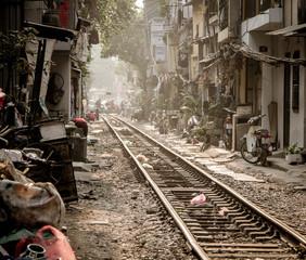 Rails trough the city of Hanoi