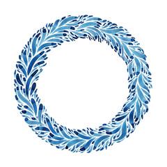 Hand drawn watercolor winter wreath
