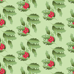 Green branches of Holly with berries. Seamless pattern. Design for textiles, tapestries, napkins, wrapping paper