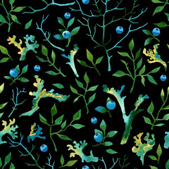 Seamless watercolor forest pattern