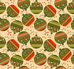 cute ornament patchwork xmas bubbles seamless pattern. cosy Chri