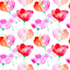 Floral seamless pattern with poppy flowers.Watercolor hand drawn illustration.White background.