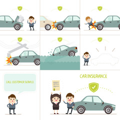 infographics car insurance business, businessman have insurance coverage with various car accident ..